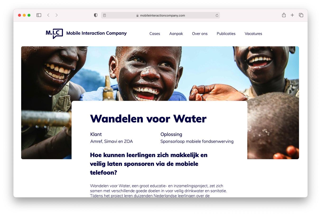 Online campagne MIC Wandelen voor Water